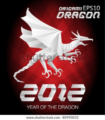 2012 Year of the Dragon - Detailed Origami Style with background - stock vector