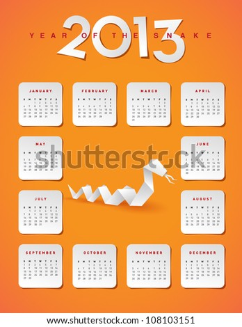 2013 year of the snake calendar - stock vector