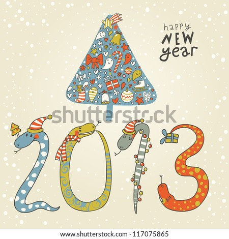 2013 - Year of the snake. Cute New Year background with a snake concept - stock vector
