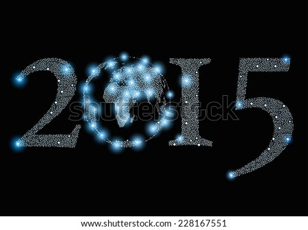 2015 year sign with world globe made from stars  - stock vector