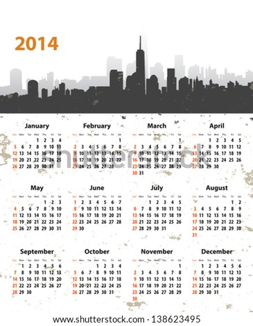 2014 year stylish calendar on cityscape grunge background. Sundays first. Vector illustration - stock vector