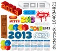 2013 Year. Vector Calendar and Labels. Week Starts on Monday - stock photo