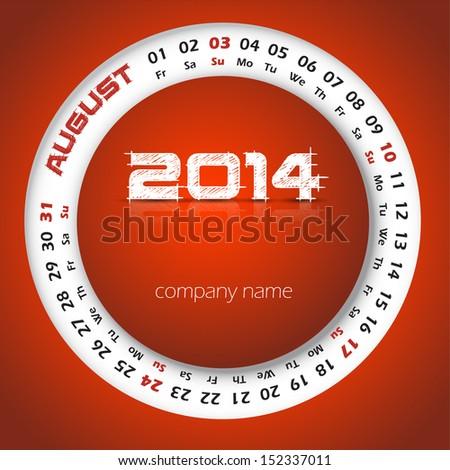 2014 year vector calendar for business wall calendar and business card. August - stock vector