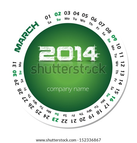 2014 year vector calendar business wall stock vector royalty free 2014 year vector calendar for business wall calendar and business card march reheart Image collections