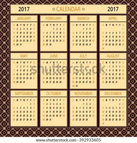 2017 year vector calendar. Illustration template with 12 months