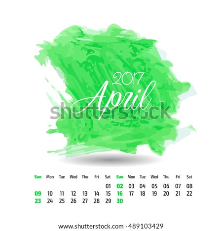 2017 year vector calendar on artistic paint splashes background. April