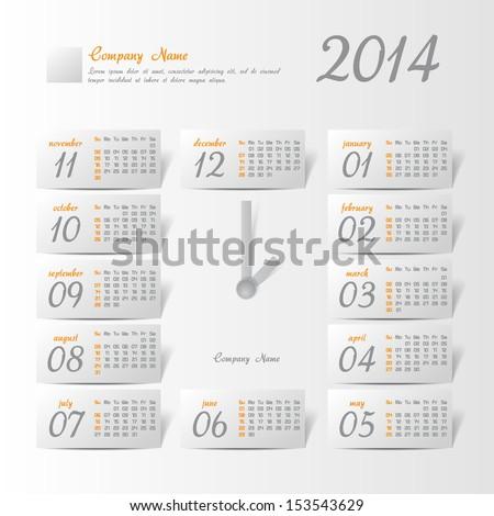 2014 year vector calendar stylized clock for business wall calendar - stock vector