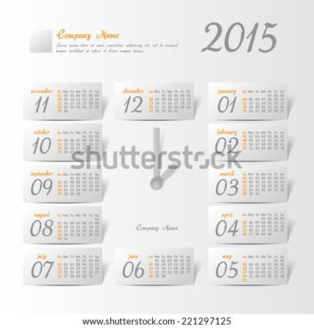 2015 year vector calendar stylized clock for business wall calendar - stock vector