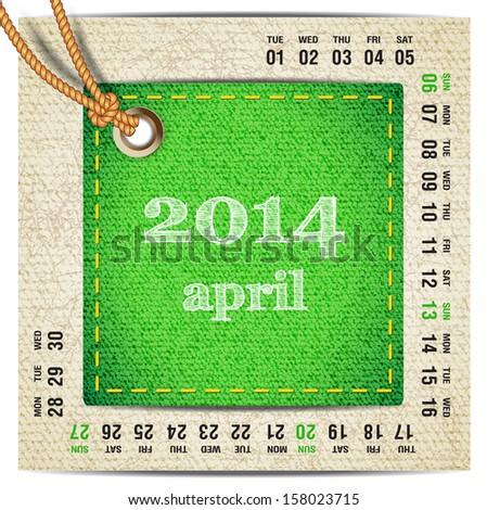 2014 year vector calendar stylized jeans. April - stock vector