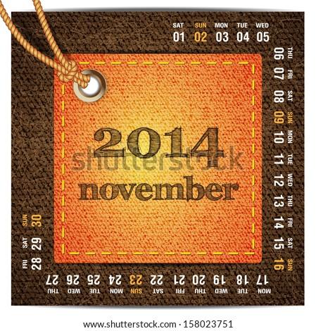 2014 year vector calendar stylized jeans. November - stock vector
