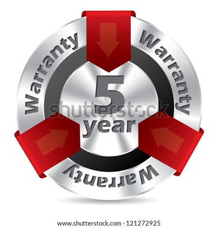 5 year warranty badge design in silver and red color - stock vector