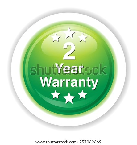 2 year warranty button - stock vector