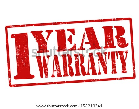 1 Year Warranty grunge rubber stamp on white, vector illustration - stock vector