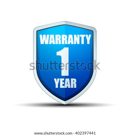 1 Year Warranty shield - stock vector