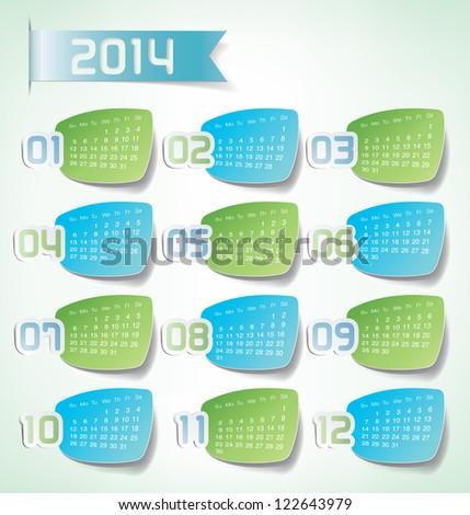 2014 Yearly Calendar. Sticker labels design illustration - stock vector