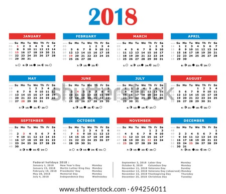 2018 Yearly Vector Calendar American Colors Stock Vector 694256011