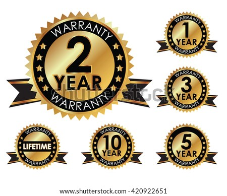 1, 2, 3, 5, 10 years and lifetime warranty golden label set  - stock vector