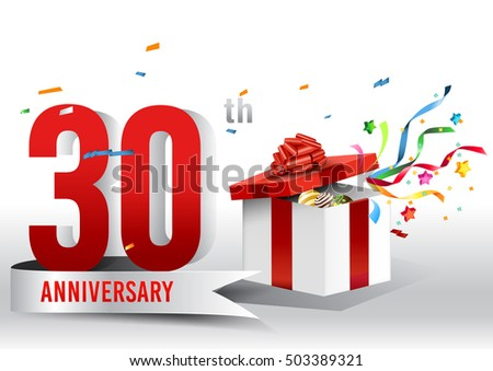 30 years anniversary background ribbon confetti stock vector