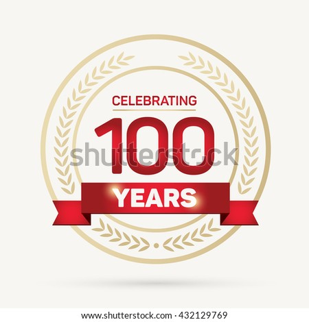 100 years Anniversary Badge on White Background Vector Illustration.