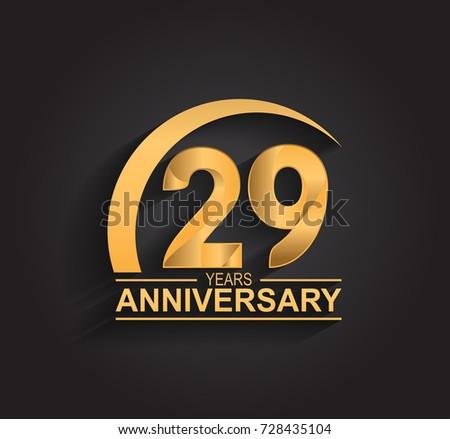 29 Years Anniversary Celebration Anniversary Logo Stock Vector Hd