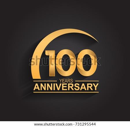 100 Years Anniversary Celebration Anniversary Logo Stock Vector