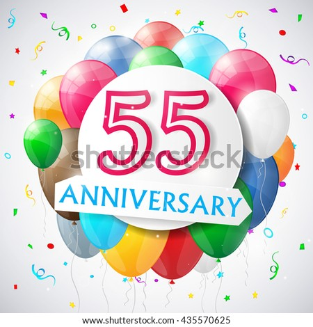 55 years anniversary celebration background with balloons. Vector illustration. - stock vector