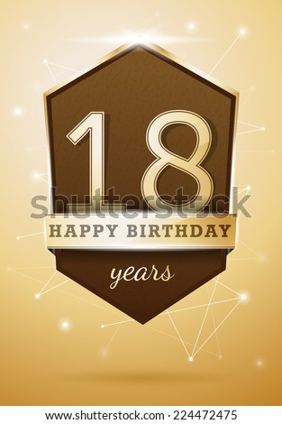 18 Years Anniversary Celebration Design Birthday Card - stock vector