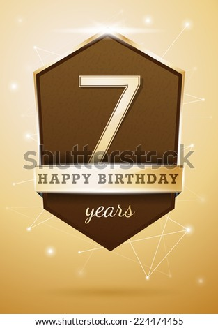 7 Years Anniversary Celebration Design Birthday Card - stock vector