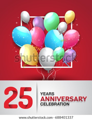 25 years anniversary celebration greeting card stock vector 25 years anniversary celebration greeting card anniversary logo with colorful balloon vector design for stopboris Images