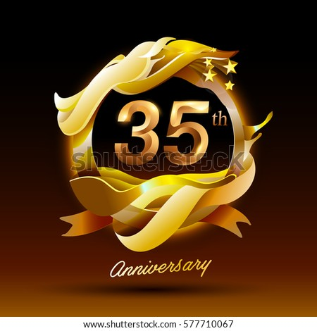 35 Years Anniversary Celebration Logo Stock Vector 2018 577710067