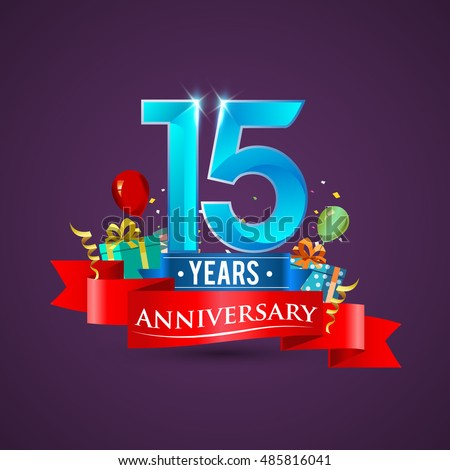 15 years anniversary celebration logo with gift box and balloons red