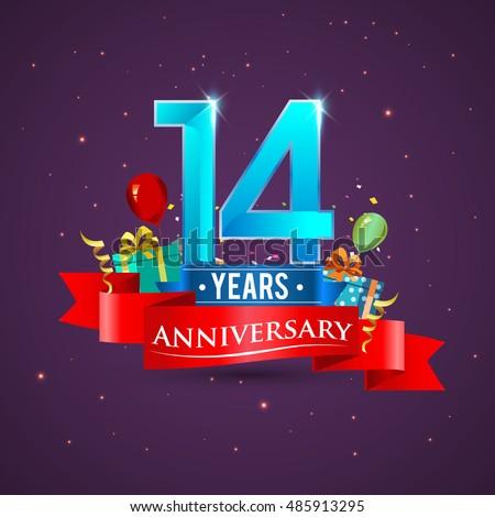 14th Anniversary Celebration Design Gift Box Stock Vector ...