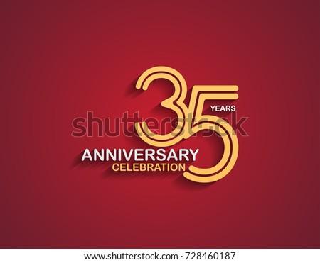 35 Years Anniversary Celebration Logotype Linked Stock Photo Photo