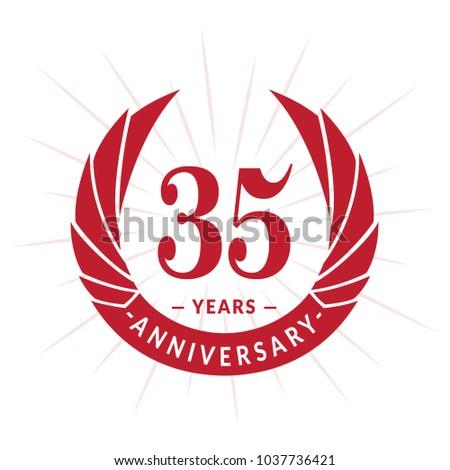 35 Years Anniversary Elegant Anniversary Design Stock Vector 2018