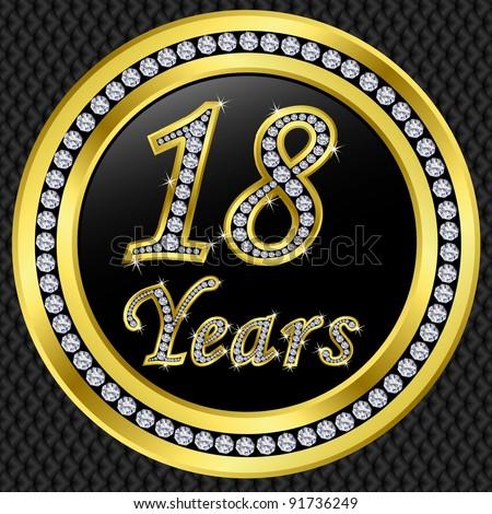 18 Years Anniversary Golden Icon Diamonds Stock Vector 91736249