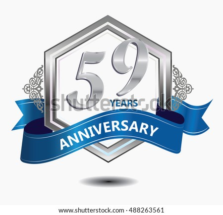 15 Years Anniversary Hexagonal Style Logo Stock Vector 488256979
