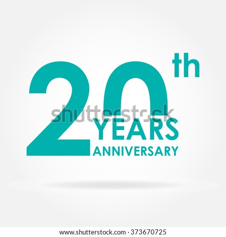 20 years anniversary icon. Template for celebration and congratulation design. Flat vector 20th anniversary label. - stock vector