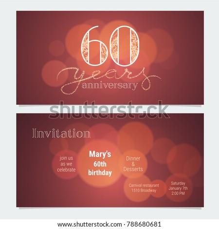 60 years anniversary invitation celebration vector stock vector 60 years anniversary invitation to celebration vector illustration graphic design element with bokeh effect for stopboris Gallery