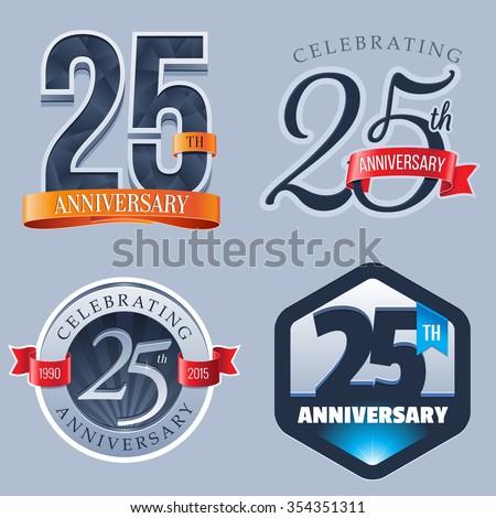 25 Years Anniversary Logo - stock vector
