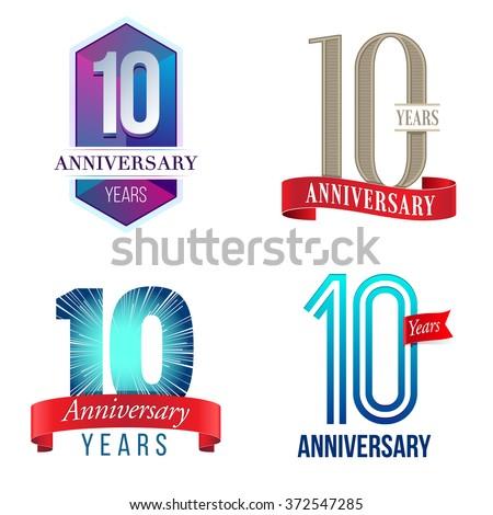 10 Years Anniversary Logo - stock vector