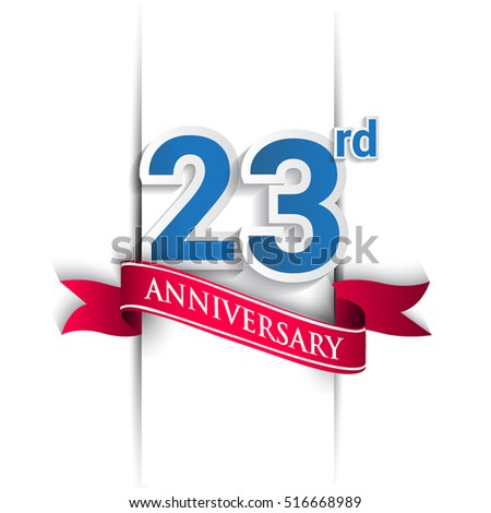 23 years anniversary logo, blue and red colored vector design on white background. template for Poster or brochure and invitation card.