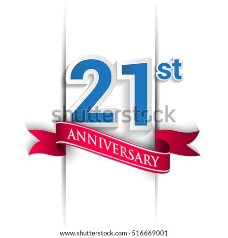 21 years anniversary logo, blue and red colored vector design on white background. template for Poster or brochure and invitation card.