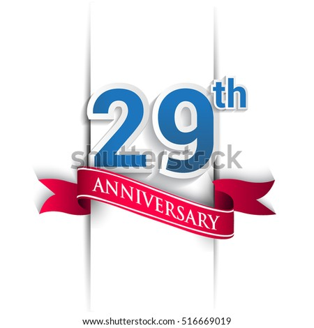 29 years anniversary logo, blue and red colored vector design on white background. template for Poster or brochure and invitation card.