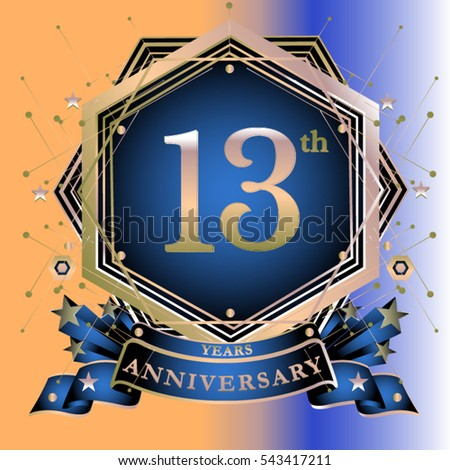 13 Years Anniversary Logo Celebration Ring Stock Vector 543417211