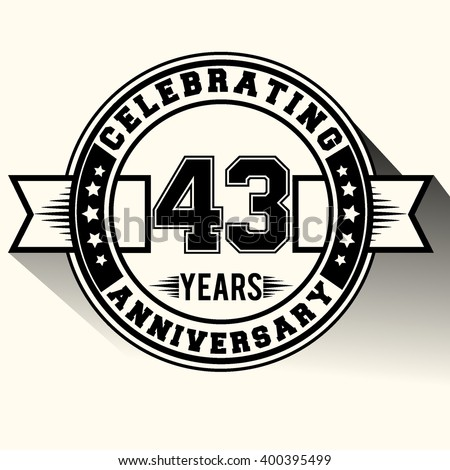 43 years anniversary logo, 43rd anniversary sign, retro design.