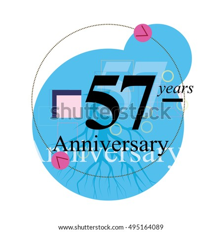 Wedding Anniversary Gift 57 Years : 57 years anniversary logo with blue circle composition. anniversary ...