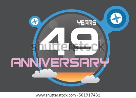 49 years anniversary logo with blue circle, orange liquid and clouds. anniversary logo for birthday, wedding, celebration and party