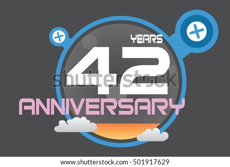 42 years anniversary logo with blue circle, orange liquid and clouds. anniversary logo for birthday, wedding, celebration and party