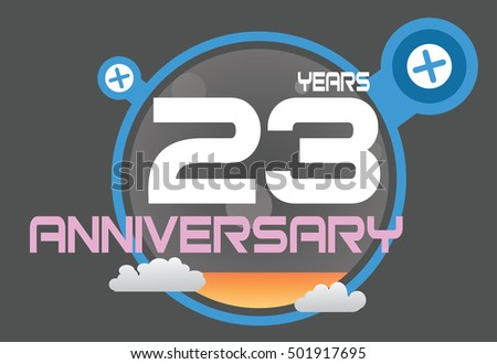 23 years anniversary logo with blue circle, orange liquid and clouds. anniversary logo for birthday, wedding, celebration and party