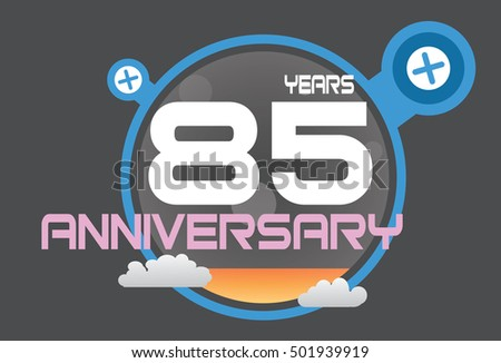 85 years anniversary logo with blue circle, orange liquid and clouds. anniversary logo for birthday, wedding, celebration and party